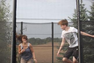 Action auf dem Trampolin